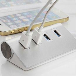 Портовый алюминиевый usb-концентратор онлайн-Wholesale- KMAX 4 Port Aluminum USB Port 3.0 Hub 5Gbps Portable Compact for PC Laptop Notebook Desktop Silver