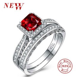 Wholesale Silver Red Ruby Diamond Ring - Authentic 925 Sterling Silver Ring Gemstone Ring with Simulated Diamond Couple Ring Set Ruby Red For Woman Wedding Jewelry Free Gift Box