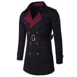 Wholesale Cheap Trenches - Wholesale- European and American Style Mens Trench Coat Windbreaker Long Turn-Down Collar Fashion Mens Pea Coat Winter Coats Men Cheap C109
