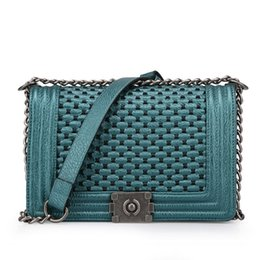 Wholesale Braided Leather Handbags - hot sale fashion new shoulder flap messenger bag braided woman bag pu leather chain lady classic designer handbags