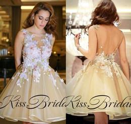 Wholesale Modest Bateau Bridesmaid Gown - Vintage 3D Lace Floral Short Prom Dresses Yellow V Back Open Modest Bridesmaid Dress Party Gowns