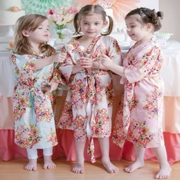 Wholesale Sexy Girls Nightgown - Wholesale- Kids Flower Gown Wedding Stain Robes For Girls Floral Silk NightGown Children's Bathrobe Bridesmaid Party Kimono Evening Gowns
