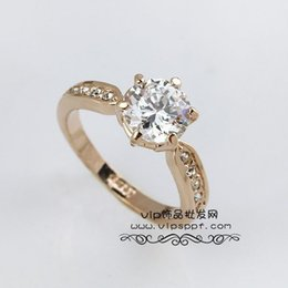 Wholesale Genuine Gold Ring Sets - Real Italina Rings For Men Women Genuine Austria Crystal 18K Gold Plated Wedding Ring Fashion Couples Engagement Ring