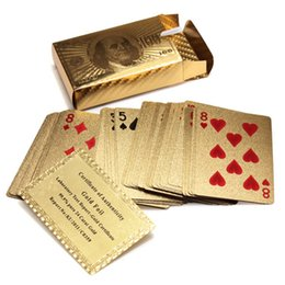 Wholesale Pure Gold 24 - Hot Selling Pure 24 K Carat Novelty Certified Gold Foil Plated Poker Game Playing Cards w  52 Cards & 2 Jokers Special Gift