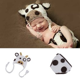 Wholesale Newborn Crochet Sets - White Milk Cow Infant Baby Girls Hat Diaper Set Photography Props Knitted Newborn Coming Home Outfits Cute Baby Animal Costume