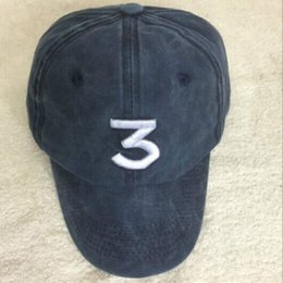 Wholesale Washed Denim Caps - Wash the denim CHANCE the rapper 3 Dad Hat Letter Embroidery Baseball Cap Hip Hop Streetwear Frog Snapback Daddy Hat Bone VETEMENTS cap