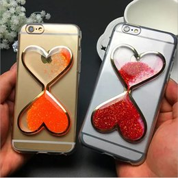 Wholesale Green Dynamics - Fluorescence Liquid Quicksan Glitter 3D Love Heart Case Colorful Dynamic Transparent Case For iPhone 5 5S 6S 6S Plus