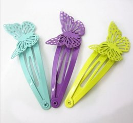 Wholesale Butterfly Wing Pin - 2018 6pcs lot children girls Trendy hair accessories Hollow Barrettes bobby pin Multi colored butterfly with wings hairpins headwear