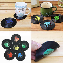 Wholesale Bar Drink Holder - 2017 CD Records Coaster Vinyl CD Record Cups Drinks Holder Mat Tableware Placemat For Bar Home Cup Accessories WX-C48