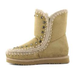 Wholesale Super Black Material - 2017 warm winter Rhinestones flower Increased snow boots Eskimo Snow Mid-Calf Boots Fur Material Super Warm snow boots size 35-40