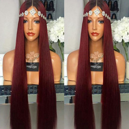 Wholesale High Quality Red Wig - High quality Long Silky straight black ombre wine red burgundy heat resistant synthetic lace front wig with baby hair for black women stock