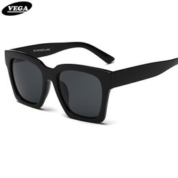 Wholesale trendy shades - Wholesale-VEGA 2017 Trendy Big Black Sunglasses Unisex Square Hipster Glasses Vintage Goggles Womens Mens Shades UV400 FSK1