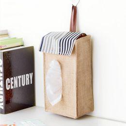 Wholesale Tissue Box Holder Organizer - Wholesale- 1pc Tissue Box Holder Hanging Paper Towel Set Cover Organizer Toilet Storage Bag Car Bathroom Cover Dispenser Container Portable