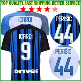 Wholesale Thailand Jersey Milan - Thailand Quality 2017 Inter home Away Soccer jersey CANDREVA ICARDI JOVETIC 2018 Milan KONDOGBIA 17 18 Maillot de foot football shirts