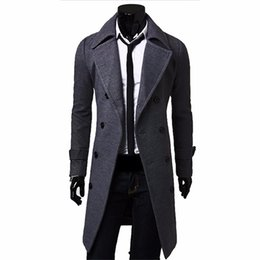 Wholesale Double Breasted Coat Camel - Wholesale- Fall-Men Long Peacoat Winter Down Jacket Mens Coat Male Camel black gray Wool Overcoat Manteau