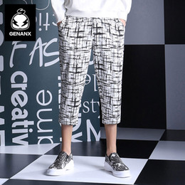 Wholesale Harajuku Case - Wholesale- GENANX Brand Men'S Casual Eight Pants Japanese Harajuku Black And White Case Grain Water Washing Leisure Trousers Youth