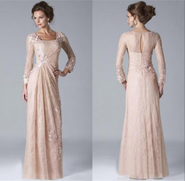 Wholesale Lavender Long Sleeved Evening Gowns - 2017 Vintage Champagne Mother of the Bride Groom Dresses Square Neckline Long Sleeved Lace Chiffon Evening Gowns
