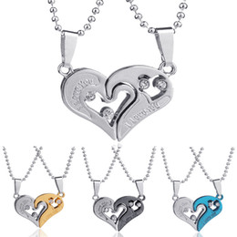 Wholesale Heart Shape Couple Necklace - High Quality Men Women Lover Couple Necklace I Love You Heart Shape Pendant Necklaces Collares Kolye
