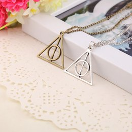 Wholesale Silver Deathly Hallows Pendant - Luna Deathly Hallows Pendant Necklace film movie jewelry for fans Triangle round pendant retro jewelry silver bronze Sweater chain 160221
