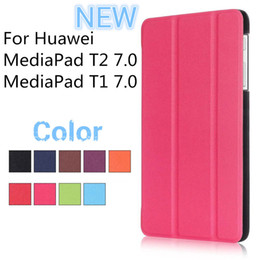 Wholesale Top China Tablet Pc - Wholesale Stand PU Leather Cover For Huawei MediaPad T1 T2 7.0 Tablet PC Case Top Quality
