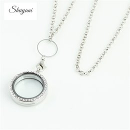 Wholesale Green Float Glass - sterling New Arrival 30mm Silver Rhinestone Floating locket Round Magnetic Glass Living memory locket with free chain Wholesale