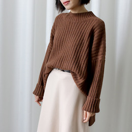 Wholesale Warm Elegant Sweaters - Winter Thick Sweater Female Loose Turtleneck Pullover Tops Warm Casual Solid Elegant All-match Sweaters Knitwear Clothing