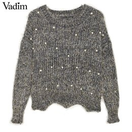 Wholesale Oversized Sweaters Wholesale - Wholesale- Women fluffy pearl beading sweaters oversized cute sweet basic long sleeve thick winter loose pullover female casual tops ZC057