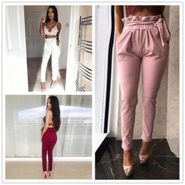Wholesale Edge Jersey - 2017 summer autumn new women casual Elastic Waist girl Harem Pants fashion Black fungus edge loose lace-up stretch Pants DZY170723