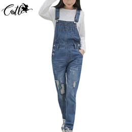 Wholesale Jumpsuits Jeans Denim For Women - Wholesale- S-XL Plus Size Classic Frayed Denim Overalls Jeans Women jumpsuit Tight High Waist Ripped Denim Overalls For Women Jeans