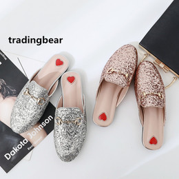 Wholesale Women Shoe Size 41 - Fashion flat mule glitter pink silver sequined slipper women shoes pumps size 35 to 39 40 41