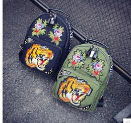 mochila de personaje mochila Rebajas Mercancías coreanas JTXS bolsa de hombro genuina femenina versión coreana de la personalidad de la marea mochila tigre cabeza bordado Oxford hilado
