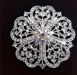 Wholesale Nice Crystal - 2 Inch Full Rhinestone Crystal Wedding Floral Brooch Pins Rhodium Silver Tone Vintage Style Corsage Nice Gifts