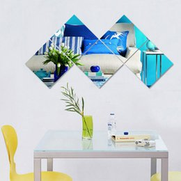 Wholesale hot decal sticker removable - 30*30cm Hot new fashion Acrylic 3D Square vintage Mirror Wall Stickers DIY Home Decoration Removable living room or bathroom decals