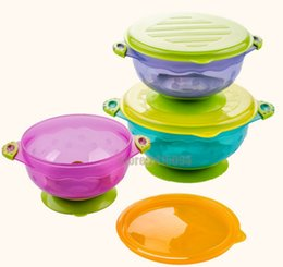 Wholesale Snap Lids - Stay Put Baby Bowls Spill Proof Suction Toddler Bowls Feeding Set Snap Lids Training food storage container stackable tableware