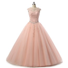 Wholesale Prom Girl Pageant Dresses - Blush Pink Quinceanera Dresses Ball Gown 2017 Beaded Tulle Floor Length Pageant Gowns For Girls Special Occasion Prom Dress Free Shipping