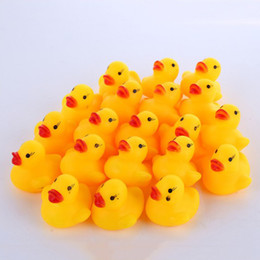 Wholesale Gifts For Baby Boy - 100pcs Cute Children Water Bath Toy Rubber Race Squeaky Big Yellow Duck Kids Bathing Toys for Baby Girls Boys Birthday Gifts