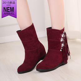 Wholesale Roman Leg - 2016 autumn and winter rhinestone flatbottomed medium-leg elevator boots tassel boots plus size female free shipping