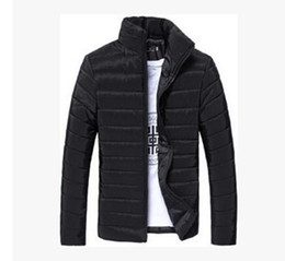 Wholesale Green Lake - Autumn Fall-Men Solid Long Sleeve Cotton Padded Good Selling Jackets Coats White Navy Blue Black Red Lake Blue Orange Light Gray
