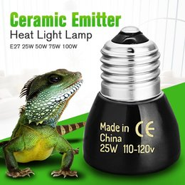Wholesale Infrared Ceramic Heat Lamp - Wholesale-Best Price Black E27 25W 50W 75W 100W Mini Infrared Ceramic Emitter Heat Light Lamp Bulb For Reptile Pet Brooder 110V 220V