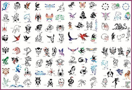 Wholesale Template Tattoo Free - Wholesale-Temporary Airbrush Tattoo Stencil Template Booklet 9 of the Animal series designs Free shipping