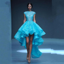 Wholesale Evening Dresses High Low Maxi - Lace Blue Elegant High Low Runway Formal Dresses Arabic 2017 O-Neck Tiered Ruched Turkish Evening Dress Maxi Party Gowns Robe De Soiree