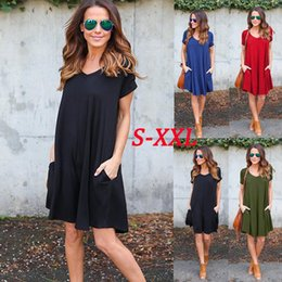 Wholesale V Neck Blue Mini Dress - Casual Pockets Loose Boho Dress Fashion Women V Neck Short Sleeve Summer Autumn Cozy Mini Dree