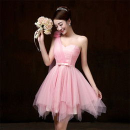 Wholesale stocked one shoulder bridesmaid dresses - 2018 New Pink Short Bridesmaid Dresses Women One Shoulder Wedding Prom Party Cocktail Elegant Evening Gowns Beautiful Cheap Dresses