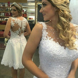 Wholesale Custom Tanks - Elegant Sleeveless Short Wedding Dresses 2017 Knee Length Tank Bridal Gowns Beaded Appliqued Short Beach Bride Dress BA6863