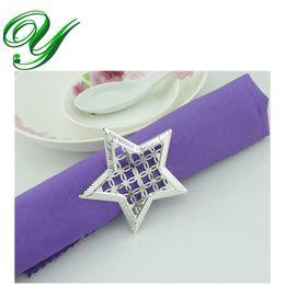 Estrelas da decoração da mesa do casamento on-line-Anéis de Guardanapo de prata titular do guardanapo de casamento favores do casamento decoração Suprimentos piercing em forma de estrela anel de metal para guardanapo de mesa de jantar