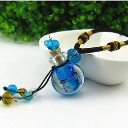 Wholesale Small Glass Flower - Glass Perfume bottle Locket Aromatherapy Necklace essential oil Diffuser small vial pendant necklace flowers Filigree sweater necklace