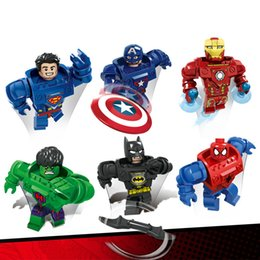 Wholesale Toy Armor Wholesale - DHL 80set Custom Armor Version Figure Superheroes Building Blocks Superman Iron Man Batman Captain America Sets Models Figures Toys D901