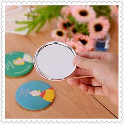Wholesale Small Hand Mirrors - Fashion Cartoon Folding Pocket Mirror Compact Portable Cute Small Hand Mirrors Makeup Cosmetic Mirror Color random delivery
