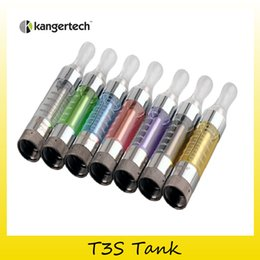 Wholesale T3s Clearomizer Wholesale - Authentic Kanger T3S atomizer vaporizer Tank Fit Original KangerTech T3S Coil for ego evod starter kit clearomizer 100% Genuine 2211023
