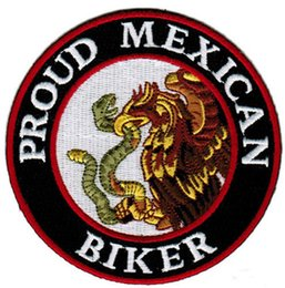 Wholesale White Shits - Embroidery Stitches Proud MEXICAN Biker MC Patch Can Be Sew On Jacket Back and White Bag or Different T-shit